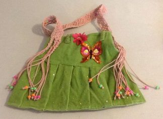 Item #17: Green Corduroy with Sparkle, Color & Macrame Strap